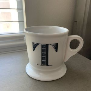 Anthropologie Letter Block Coffee Mug Black white